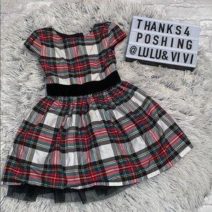 CARTERS Tartan Plaid Holiday Dress w/ Black tulle